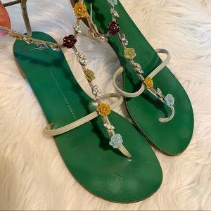 Giuseppe Zanotti Flower Gem T-Strap Sandals 38 7.5